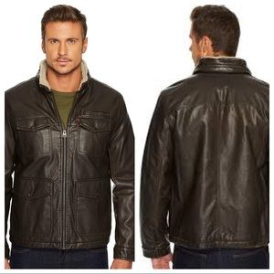 Levi's Mens Faux Leather Shepa Lined Bomber Jacket